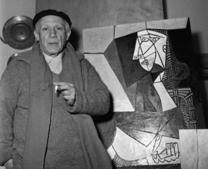 Pablo Picasso with One of His Works